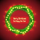 Insegna del cerchio della corona dell'abete di Natale illustrazione di stock