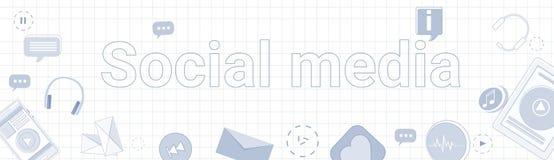 Insegna del collegamento di rete internet di concetto di Media Communication del sociale Immagini Stock