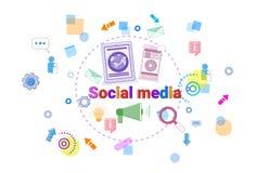 Insegna del collegamento a Internet della gente di concetto di Media Communication del sociale Immagini Stock Libere da Diritti