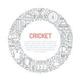 Insegna del cricket con la linea icone di palla, di pipistrello, di campo, di wicket, di casco, di abito e di altra attrezzatura  Immagine Stock Libera da Diritti