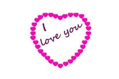 Insegna del cuore con la frase del ` del ` ti amo Immagine Stock