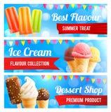 Insegna del dessert 3d del cioccolato e della vaniglia del gelato Immagini Stock Libere da Diritti