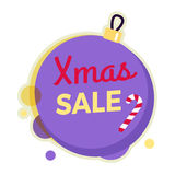 Insegna del giro di vendita di natale isolata sulla palla di Natale Fotografia Stock