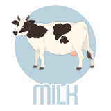 Insegna del latte di vacca Fotografie Stock Libere da Diritti
