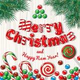 Insegna del manifesto della cartolina di Natale con i rami e le caramelle dell'abete su un fondo di legno Illustrazione di vettor Immagini Stock