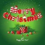 Insegna del manifesto della cartolina di Natale con i rami ed i regali dell'abete su un fondo verde Immagine Stock Libera da Diritti