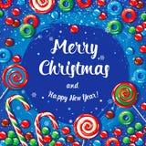 Insegna del manifesto della cartolina di Natale con le caramelle ed i fiocchi di neve Illustrazione di vettore Fotografia Stock