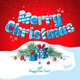 Insegna del manifesto della cartolina di Natale con le lettere del ghiaccio, i rami dell'abete, i regali e le caramelle su un fon Fotografia Stock Libera da Diritti
