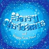Insegna del manifesto della cartolina di Natale con le lettere ed i fiocchi di neve del ghiaccio Illustrazione di vettore Fotografie Stock Libere da Diritti