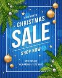 Insegna del manifesto di Buon Natale con fondo blu tricottato, oro e palle di Natale e testo d'argento del modello per il vostro  royalty illustrazione gratis