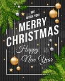 Insegna del manifesto di Buon Natale con fondo nero tricottato, oro e palle di Natale e testo d'argento del modello per il vostro illustrazione di stock