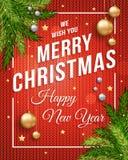 Insegna del manifesto di Buon Natale con fondo rosso tricottato, oro e palle di Natale e testo d'argento del modello per il vostr illustrazione vettoriale