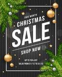 Insegna del manifesto di vendita di Natale con fondo nero tricottato, oro e palle di Natale e testo d'argento del modello per la  illustrazione vettoriale