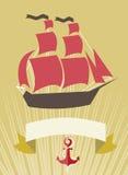 Insegna del mare con la barca a vela nello stile del fumetto Fotografia Stock Libera da Diritti