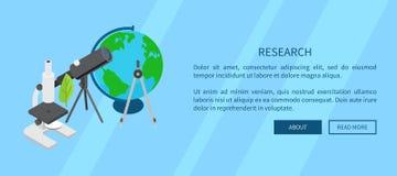 Insegna del modello di ricerca con gli strumenti scientifici Fotografia Stock Libera da Diritti