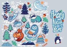 Insegna del nuovo anno con gli animali decorativi, la calligrafia e gli elementi della foresta Illustrazione di vettore immagine stock