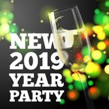 Insegna del nuovo anno con il vetro trasparente del champagne royalty illustrazione gratis
