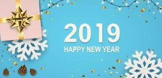 Insegna del nuovo anno con le ghirlande scintillanti, fiocchi di neve, contenitori di regalo illustrazione vettoriale