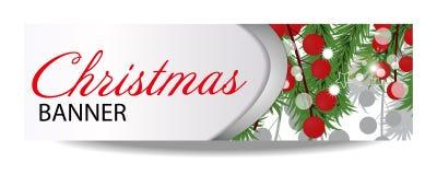 Insegna del nuovo anno e di Natale con i rami dell'abete e le bacche dell'agrifoglio Illustrazione con il posto per il vostro tes Fotografia Stock