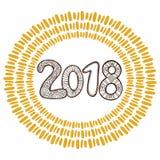 Insegna 2018 del nuovo anno Progettazione scritta a mano della cartolina d'auguri di Natale r royalty illustrazione gratis