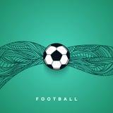 Insegna del pallone da calcio con fondo Euro campionato 2016 di calcio Fotografia Stock Libera da Diritti