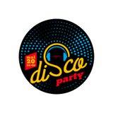 Insegna del partito di discoteca, manifesto d'annata di musica, modello di vettore Fotografie Stock