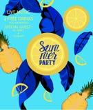 Insegna del partito di estate con i frutti tropicali royalty illustrazione gratis