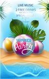 Insegna del partito di estate con i giocattoli gonfiabili, le foglie tropicali e la sabbia royalty illustrazione gratis