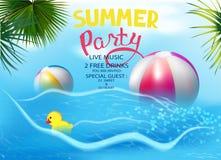 Insegna del partito di estate con i giocattoli gonfiabili, le foglie tropicali e le onde illustrazione di stock