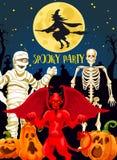 Insegna del partito di orrore di Halloween con i mostri del demone illustrazione di stock