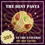 Insegna del pianeta della pasta Spaghetti con l'illustrazione delle polpette Fotografia Stock Libera da Diritti