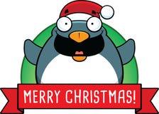 Insegna del pinguino di Natale del fumetto Fotografia Stock Libera da Diritti
