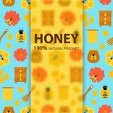 Insegna del prodotto naturale del miele Fotografia Stock