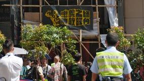 Insegna del protestatario - rivoluzione dell'ombrello in Monkok, Hong Kong Immagine Stock Libera da Diritti