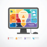 Insegna del puzzle del computer del modello di Infographic. concentrato illustrazione di stock
