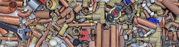 Insegna del sito Web dei tubi e dei montaggi del ` s dell'idraulico Fotografie Stock Libere da Diritti