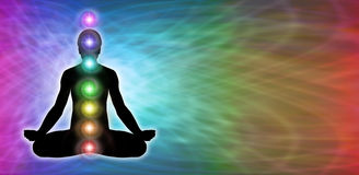 Insegna del sito Web di meditazione di Chakra dell'arcobaleno Immagine Stock