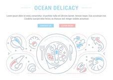 Insegna del sito Web e pagina di atterraggio della squisitezza dell'oceano Fotografie Stock