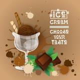 Insegna deliziosa dell'alimento di Logo Sweet Beautiful Summer Dessert del gelato Fotografie Stock Libere da Diritti
