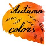 Insegna dell'acquerello di autunno con l'iscrizione della mano Immagine Stock