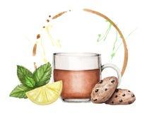 Insegna dell'acquerello, fondo con l'insieme di tè illustrazione vettoriale