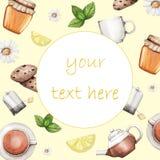 Insegna dell'acquerello, fondo con tè, miele, menta, limone illustrazione vettoriale