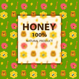 Insegna dell'ape e del miele su verde Fotografia Stock Libera da Diritti
