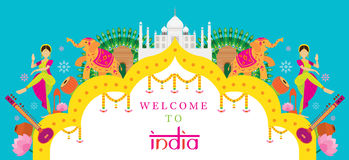 Insegna dell'attrazione di viaggio dell'India Immagine Stock
