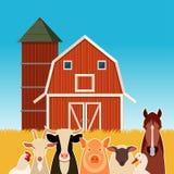 Insegna dell'azienda agricola con gli animali Fotografia Stock Libera da Diritti