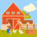 Insegna dell'azienda agricola con gli animali piani Immagini Stock