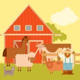 Insegna dell'azienda agricola con gli animali piani Immagini Stock Libere da Diritti