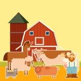 Insegna dell'azienda agricola con gli animali piani Fotografia Stock Libera da Diritti