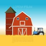 Insegna dell'azienda agricola con il trattore Fotografia Stock Libera da Diritti