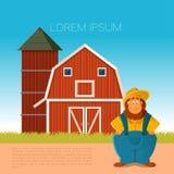 Insegna dell'azienda agricola con un agricoltore Fotografie Stock Libere da Diritti